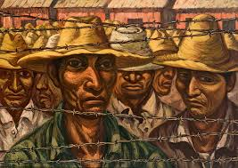 Painting of men behind a barbed wire fence