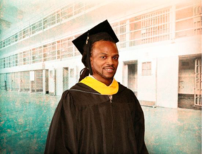Man dressed in graduation garb in a prison