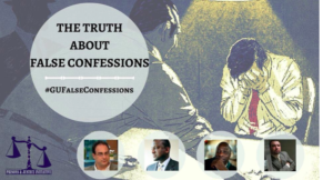 The Truth About False Confessions Flyer: Image of a man with his face in his hands