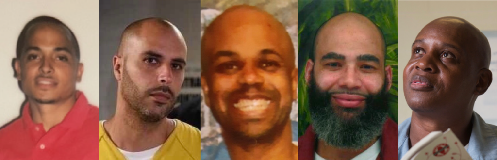 Faces of five wrongfully convicted men.